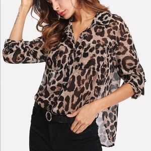 Curved Hem Leopard Semi-sheer Utility Shirt
